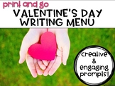 Valentine's Day Writing Menu