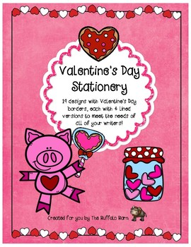 Valentine's Day Writing Paper- Lined Stationary with Borders