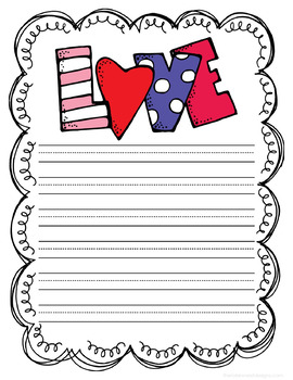 24 Page Set of Valentine's Day Themed Writing Paper