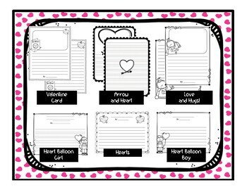 Valentine's Day Writing Papers - 12 designs