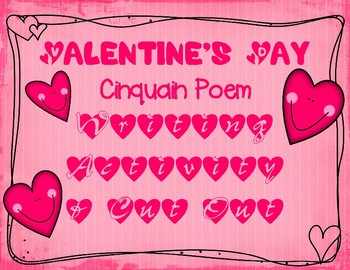 Valentine's Day Writing Poetry Cinquain Poem Instructions and Cut Out Activity
