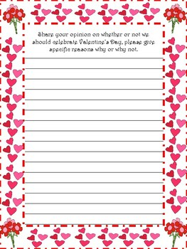 Valentine's Day Writing Prompts [1-Narrative/1-Opinion/1-Info]