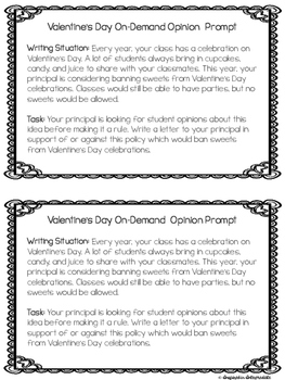 Valentine's Day Writing Prompts On-Demand (Opinion, Narrative, and Informative)