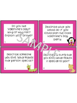 Valentine's Day Writing Prompts Task Cards and Worksheets