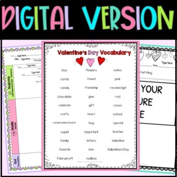 Valentine's Day Writing Sentence Starters/Frames, Paragraph Frame, Craftivity