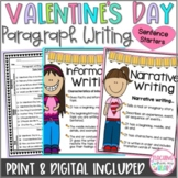 Valentine's Day Writing Sentence Starters Frames, Paragrap