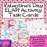 Valentine's Day Activity * Writing Task Cards * 16 ELAR Qu