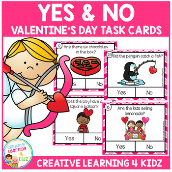 Yes & No Valentine's Day Picture Question Task Cards