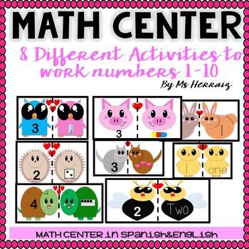 Valentine's Day PREK&KINDER 8 Math Centers SUBITIZING (tally,dice,ten frame...)