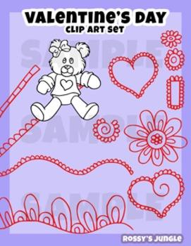 Valentine's Day clip art and design elements set