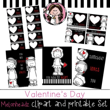 Valentine's Day clip art and printable set - by Melonheadz