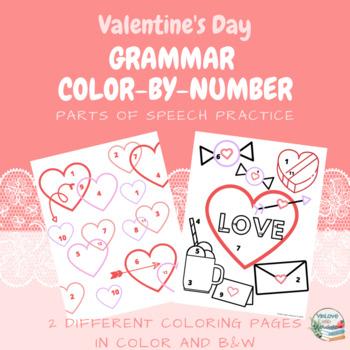 valentine 39 s day color by number grammar worksheets by. Black Bedroom Furniture Sets. Home Design Ideas