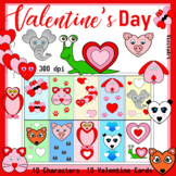 Valentine's Day coloring pages, characters & printable cards