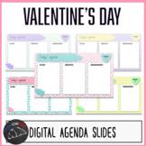 Valentine's Day daily agenda slides for Google/Powerpoint/