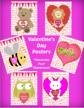 "Valentine's Day decoration, 6 Posters  - decorate your classroom - 8.5""x11"""