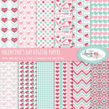Valentine's Day digital papers