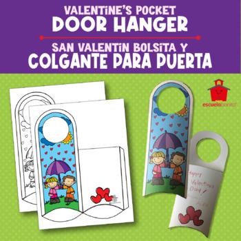 Valentine's Day door hanger with pocket- San Valentín colgante para puerta