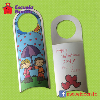 Valentine's Day door hanger with pocket- San Valentín colgante para puerta