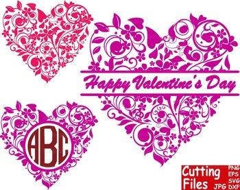Valentine's Day floral Heart Pattern Cutting File Set clip art love flower -56S