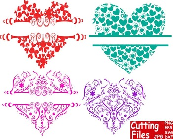 Valentine's Day floral Heart Pattern Cutting File Set clip art love flower -57S