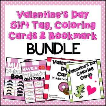 Valentine's Day gift tag, bookmark, coloring cards BUNDLE
