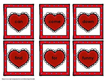 Valentine's Day hearts 220 Dolch Sight Words 'Bang' Game