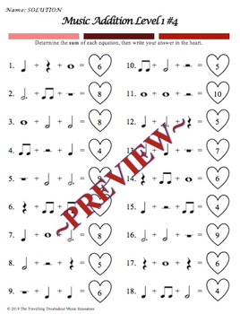 Valentine's Day or Heart-Themed Music Addition Worksheets - Level 1