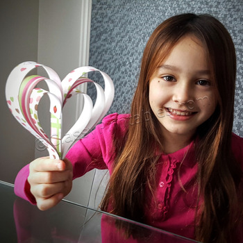 Valentine's Day heart strips ornament craft activity FREE