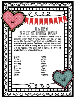 Valentine's Day parent letter & card list