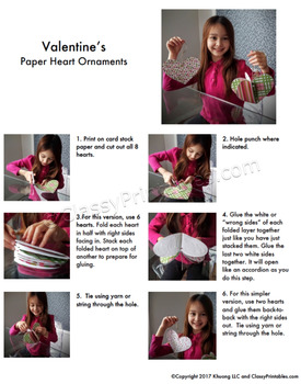 Valentine's Day printable heart ornaments crafts FREE coloring pages