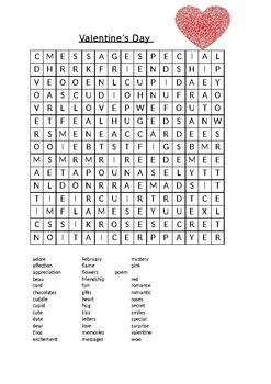 image regarding Valentine Day Word Search Printable titled Valentines Working day Phrase Appear - Magic formula Information Inside of! by means of Mrs