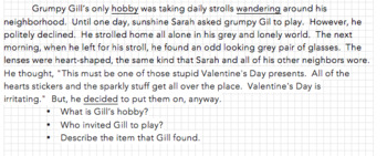 Valentine's Day short story and Language craftivity