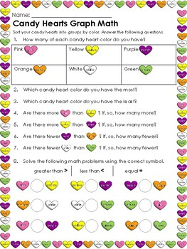 Valentine's Day themed Candy Heart math activities