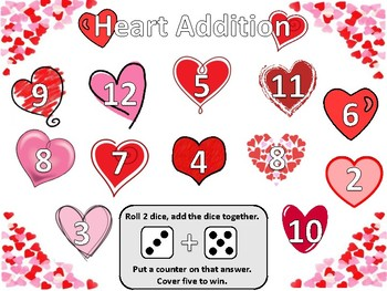 Valentine's Day themed Heart Addition and Subtraction Dice Game