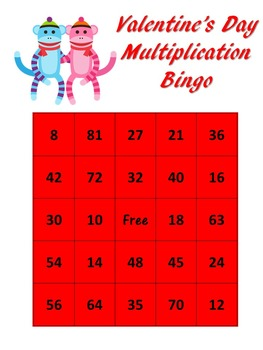 Valentine's Day themed Multiplication BINGO