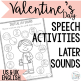 Valentine's Day themed Speech Sound Worksheets- Later sounds