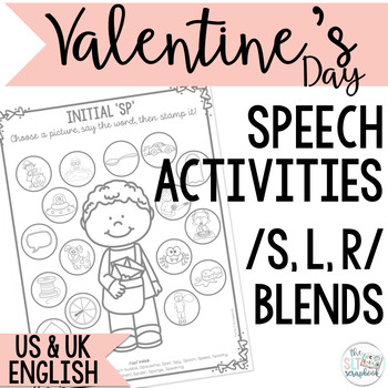 Valentine's Day themed Speech Sound Worksheets- s, l and r blends