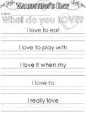 Valentine's Day themed writing prompts and worksheets