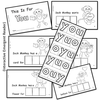 Valentine's Day with Sock Monkey    Interactive Emergent Reader   Sight Word YOU