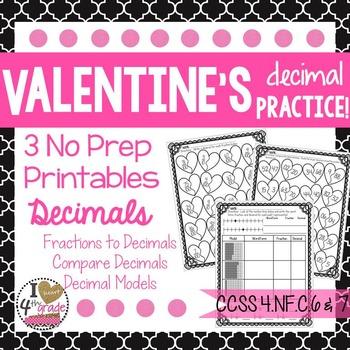 Valentine's Decimal Printables