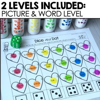 Valentine's Dice & Dot For Speech & Language