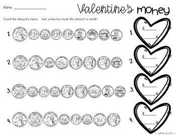 Valentine's Day: Differentiated Money Practice Worksheet