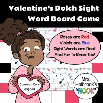 Valentine's Dolch Sight Word Board Game
