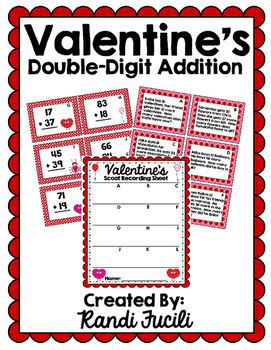 Valentine's Double Digit Addition Scoot Task Cards