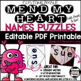 Valentine Heart Name Puzzle-Name Building Practice Literacy Center; Editable PDF
