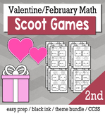 Valentine's February 2nd Grade {Scoot Game/Task Cards} Math Bundle