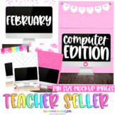 Valentine's February Pin Size Computer Mockups for Teacher Sellers