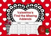 Valentine's Find the Missing Addends Worksheets