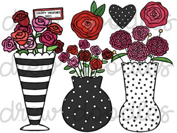 Valentine's Flowers Digital Clip Art FREEBIE