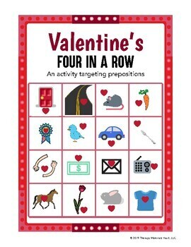 Valentine's Four in a Row - An Activity Targeting Prepositions